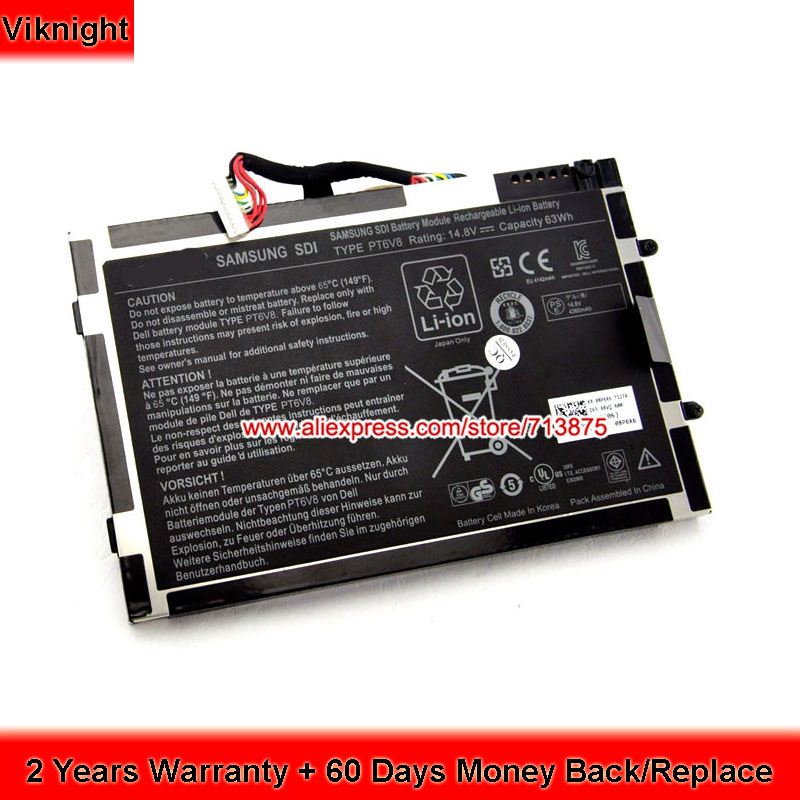 New PT6V8 Battery For Dell Alienware M11x M14x R1 Series R2 R3 14 8v 63wh original new laptop battery for dell alienware m11x m14x r1 r2 battery 0w3vx3 08p6x6 pt6v8