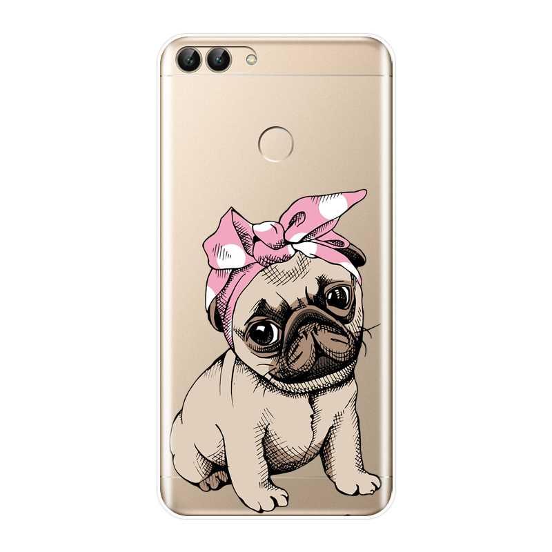 Задняя крышка для huawei P20 Lite Pro P9 P10 Plus P Smart P8 P9 Lite Mini 2017 Мопс Французский бульдог щенок Мягкий силиконовый чехол для телефона