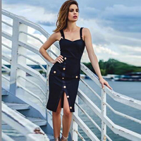 2017 Newest Summber Bandage Dress Women Celebrity Party Black Spaghetti Strap Split Sexy Night Out Dress