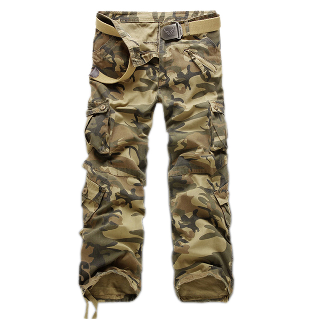 Erkek Çok Cep Rahat Kamuflaj Pantolon Erkekler Askeri Kargo Pantolon Yıkanmış Pantolon Gevşek Pantolon Erkekler Için Yeni Varış