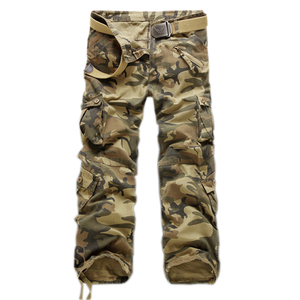Image 1 - Mens Multi Pocket Casual Camouflage Pants Men Military Cargo Pants Washed Trouers Loose Pants For Men New Arrival