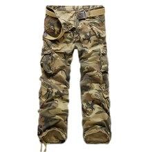 ผู้ชายหลายกระเป๋าสบายๆผู้ชายกางเกงพรางทหารกางเกงคาร์โก้ล้างTrouersหลวมกางเกงสำหรับผู้ชายมาใหม่