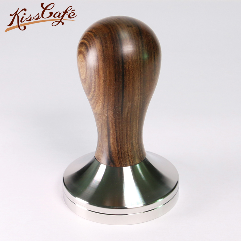 41/49/51/53/57.5/58/58.35mm Chacate Preto Wooden Tamper Coffee Powder Hammer With 304 Stainless Steel Base Coffee Accessories