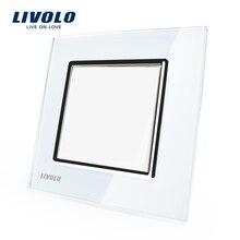 Fabricante Livolo Lujo panel de cristal cristal blanco, interruptor de botón/casa inteligente, VL-C7K1-11