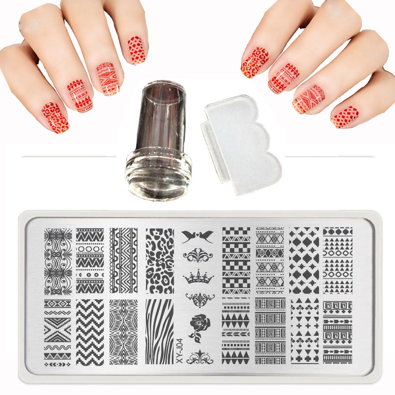 2017 Hot 6X12cm XY J 1 32 Lace Nail Art Stamping Plates Set Metal Templates Stencil Nail Polish Transparent Stamp Scraper