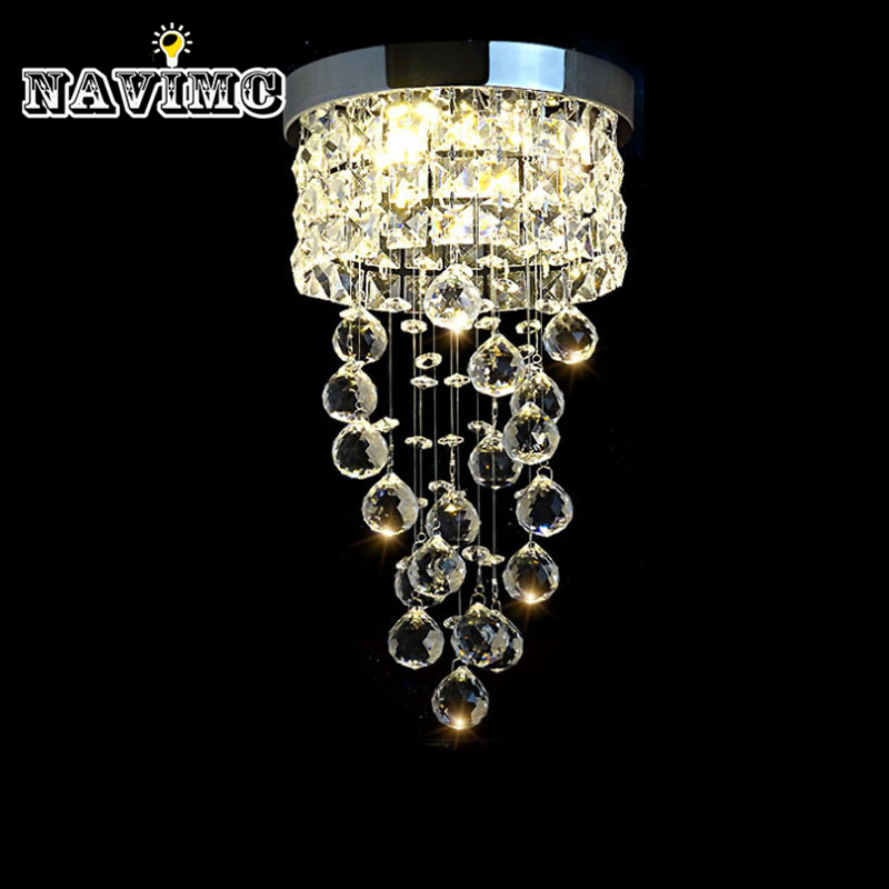Modern Led Small Crystal Chandelier Lighting Ceiling Lamp for Kitchen Bathroom Closet Bedroom Decorative Lamp 20cm Diameter vemma acrylic minimalist modern led ceiling lamps kitchen bathroom bedroom balcony corridor lamp lighting study