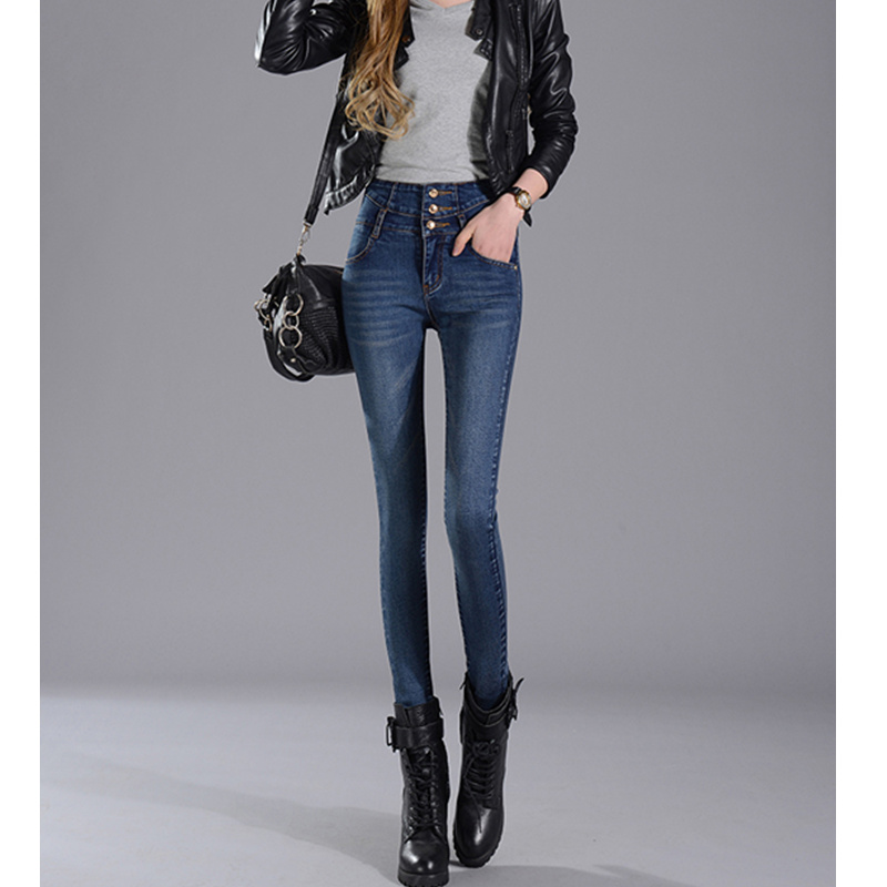 JUJULAND New Arrival Wholesale Woman Denim Pencil Pants Top Brand Stretch Jeans High Waist Women