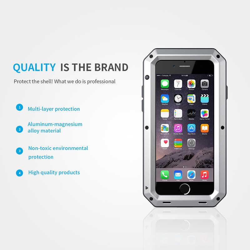 صدمات الموت درع للماء معدن الألومنيوم الهاتف حالات ل فون X 8 7 6 6s زائد 5s SE حالة غطاء زجاج الشاشة فيلم
