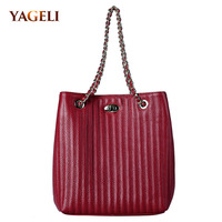 Genuine leather bucket bag for women luxury design leather lady handbag fashion women's totes brand lady shoulder bags 2018