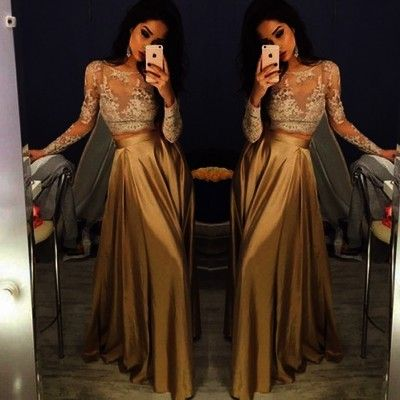 b4e8b99fa6 Sexy Gold Two Piece Prom Dress With Long Sleeve Lace Formal Evening Gowns  Party Dresses