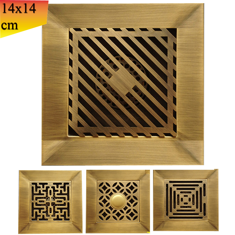 Wholesale and Retail Antique Brass Artistic Flower Shower Waste Drain Bathroom Floor Square Drain Strainer 14cm/5.5 inch lacoste поло