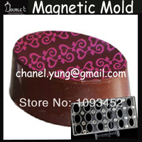Free Shipping 18pc Oval Shape Chocolate Stainless Magnetic Mold with Chocolate Transfer Sheet DIY Hand made Tools