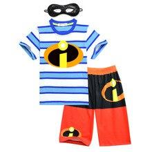 Купить с кэшбэком 2019 New Incredibles 2 short sleeve Children's set boy casual home clothing two-piece children's cartoon pajamas sets 3-10 years