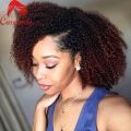 Afro Kinky Curly Ombre Lace Front  Wigs 180% Density Brazilian Virgin Human Hair Full Lace Wig Ombre Curly U Part Wigs 1b#/4#