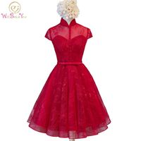 Walk Beside You Burgundy Lace Cocktail Dresses Short Homecoming Dresses High Neck Cap Sleeves Robe Cocktail