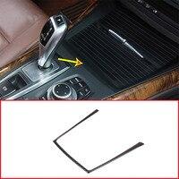 Real Carbon Fiber Interior Car Cup Holder Frame Sticker Trim For BMW X5 E70 2008 2013 Car Accessories