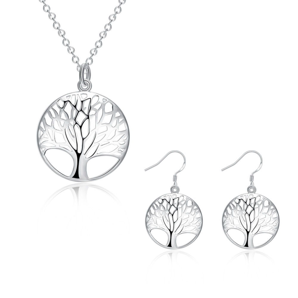 Hot Sale Cute Silver Tree Life Jewelry Set Necklace