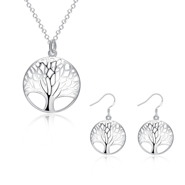 HOT SALE cute Silver Tree Life jewelry set necklace earring totem lady wife girl