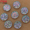 100pcs 12mm 14mm 16mm Clear AB Acrylic Resin Flat Back Round Sew On Rhinestone 2 holes Sewing Beads for Wedding Dress ZZZ2