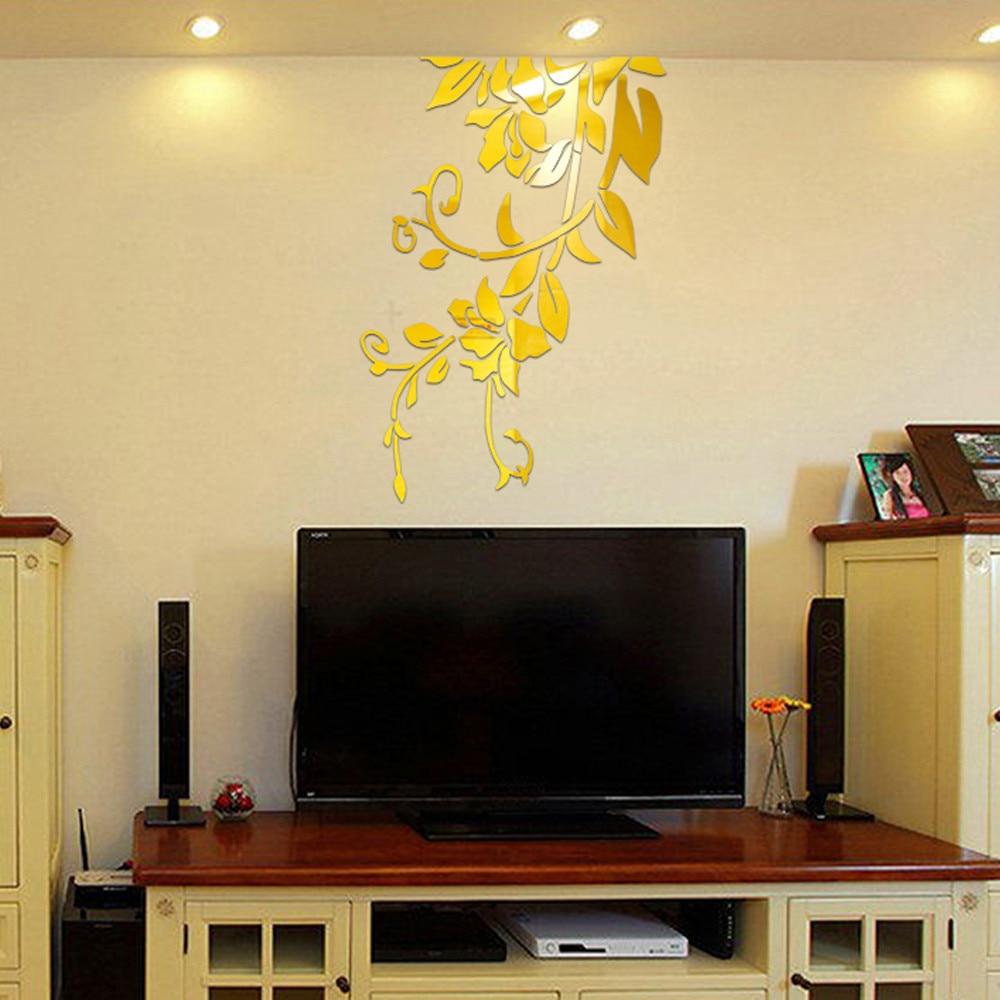 mirror flower wall sticker 3d diy acrylic modern decoration stickers