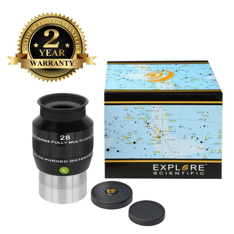 New Explore Scientific Eyepiece 68 Degree Extreme Wide Field Waterproof 2inch 28mm Argon-Purged EMD Coatings