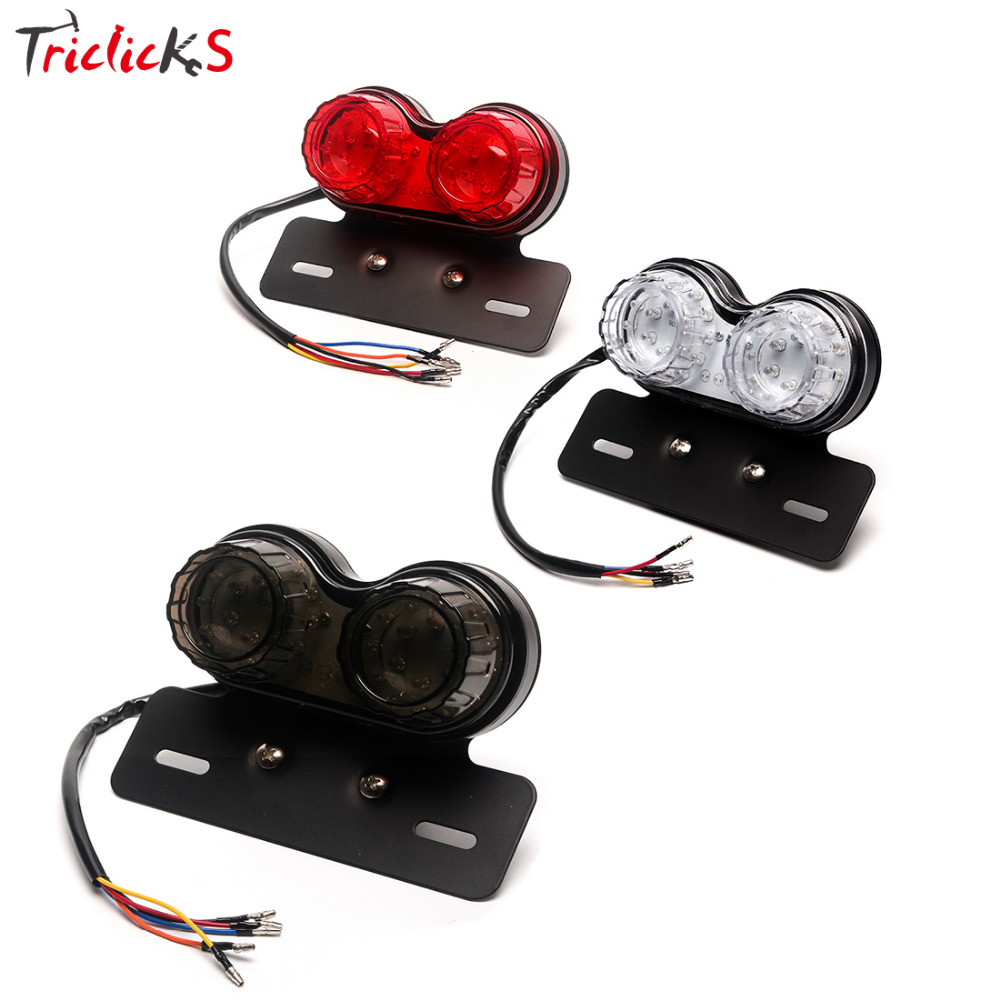 Triclick 108W New Clear Smoke Red Lighting Motorcycle LED Twin Dual Tail Turn Signal Light Bike Dirt Brake License Plate Lights