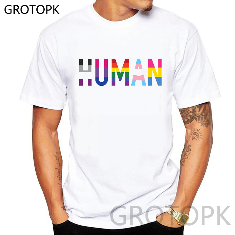 HUMAN T SHIRT LGBT PRIDE LESBIAN FUNNY SCFI BIRTHDAY PRESENT GIFT GAY RAINBOW Men/women Summer Harajuku Tshirt Couple Clothing