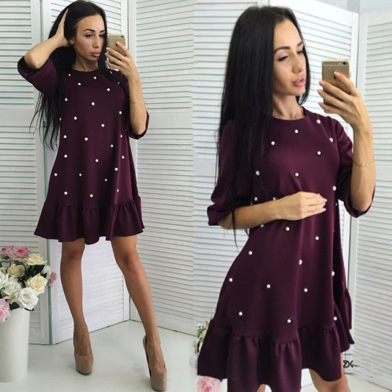 2018 Summer New Women Studded Beaded Slim A-Line Dress Casual O-neck Short Sleeve Ladies Sweet Party Mini Vestidos