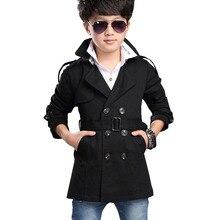 Г. Осеннее двубортное пальто для мальчиков, Детская куртка с вышивкой, верхняя одежда для детей от 5 до 16 лет