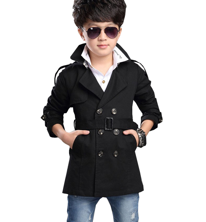 Free shipping 2018 autumn boy double-breasted coat and long sections windbreaker kids jacket baby outerwear 5-16 years