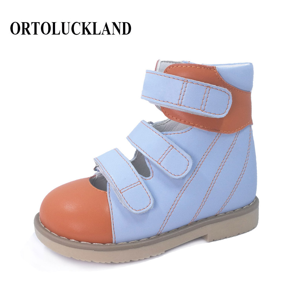 Child boys closed toe sandals casual orthopedic shoes for boys girls blue leather children orthopedic shoes