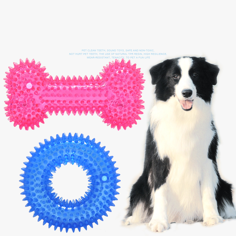 1Pcs Pet Toy Multicolor Non-toxic Circle Rubber Dog Puppy Dental Teeth Healthy Chew Biting Ring Supplies