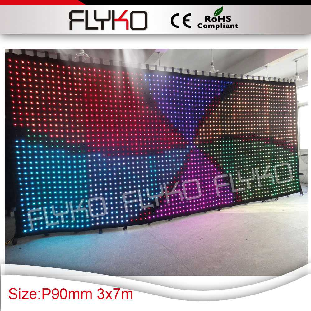 Commercial Lighting Flexible Indoor P90mm 3m Height X 7m Length Low-cost Led Video Curtain Dj Backdrop