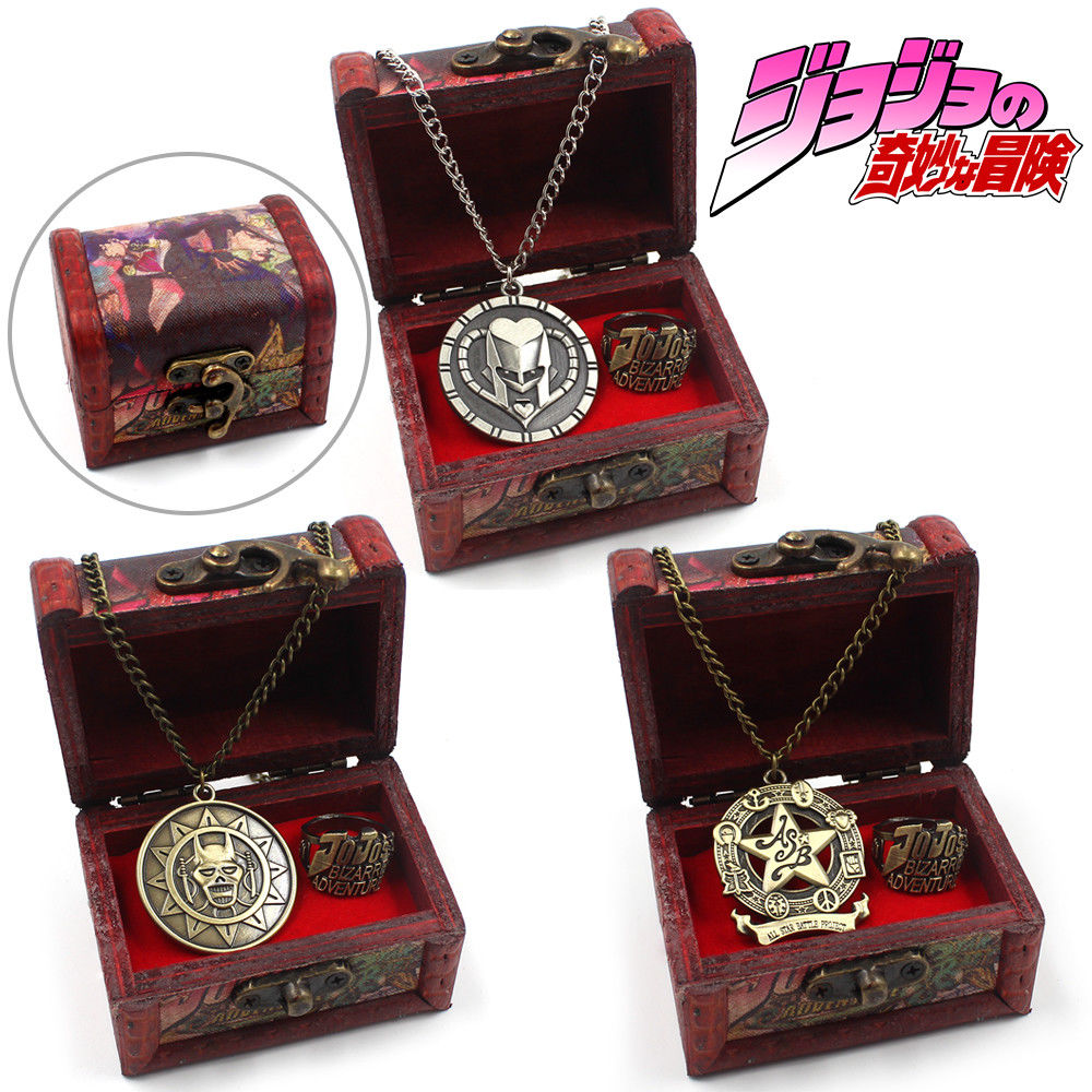ohcomics Anime For JoJo'sBizzare Adventure Fans JOJO Metal Necklace+Ring+Wooden Box Costume Accessories Pendants Decor Ornament
