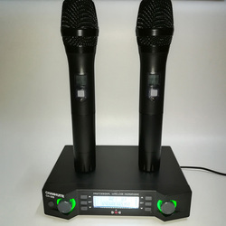 UHF dual Channels Wireless Microphone System Micro Mic Portable Microphone with Transmitter Receiver for Teaching Conference
