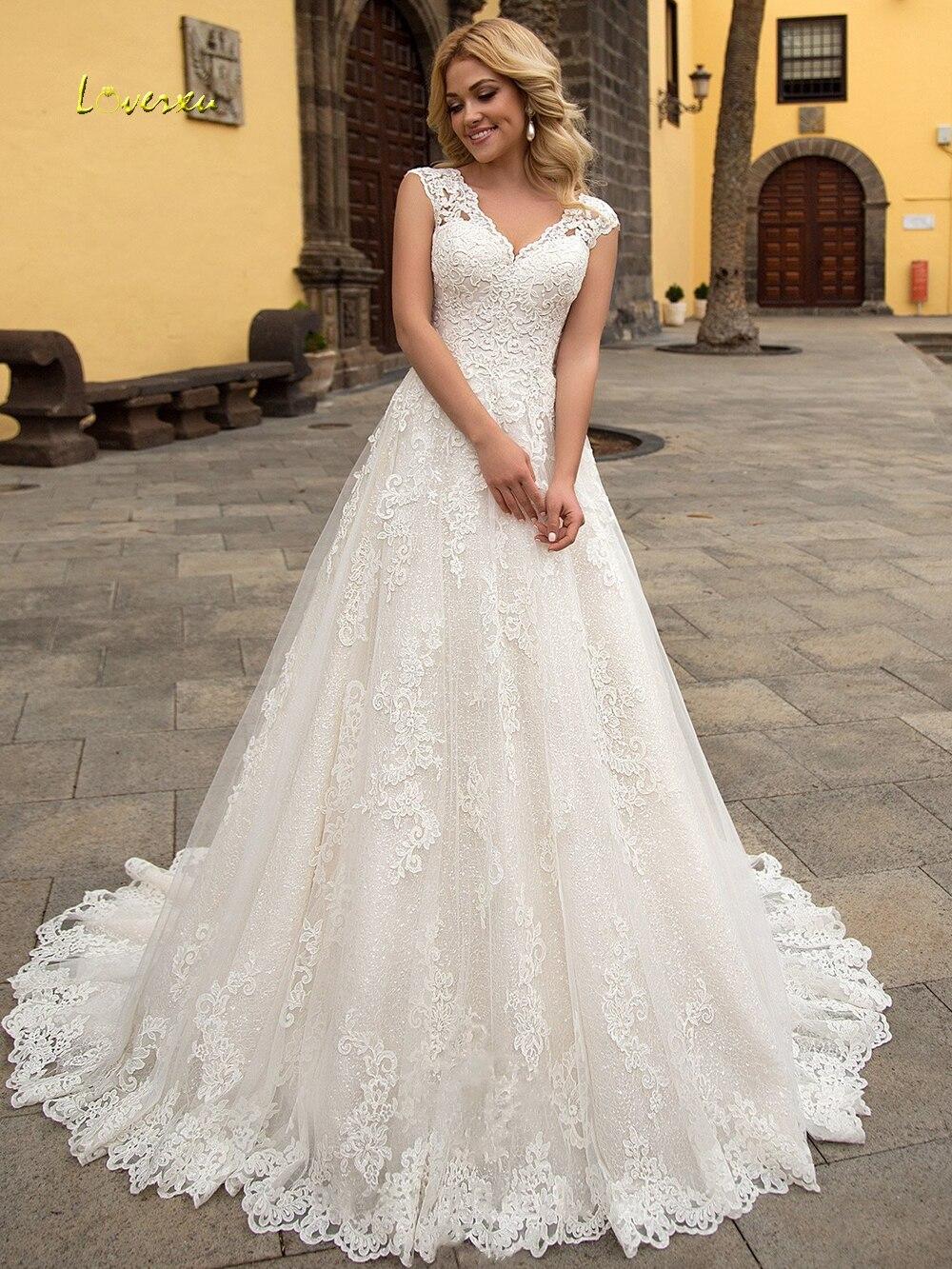 Loverxu Sexy V Nck Appliques Lace A Line Wedding Dresses 2019 Appliques Cap Sleeve Court Train