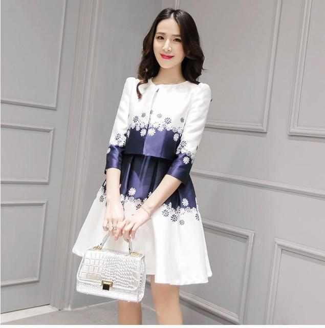 5ea95495be6 New Spring Summer Women Dress Coat 2 Pieces 2016 Slim Edition Floral  Printed Pleated Fashionable Dress + Coat For Girl