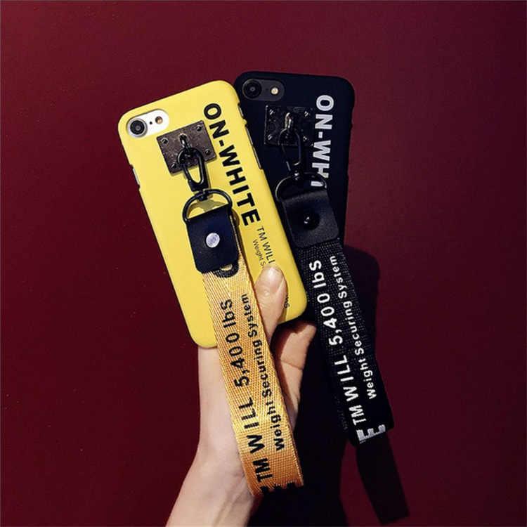 أوف وايت الشريط المفاتيح النساء جراب هاتف محفظة مفاتيح سلسلة بورت clef لحقيبة حلقة رئيسية llaveros mujer sleutelhang شافيرو