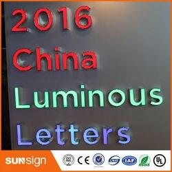 Letras del alfabeto iluminadas, letras de canal led frontlit y retroiluminadas, letras iluminadas para señal