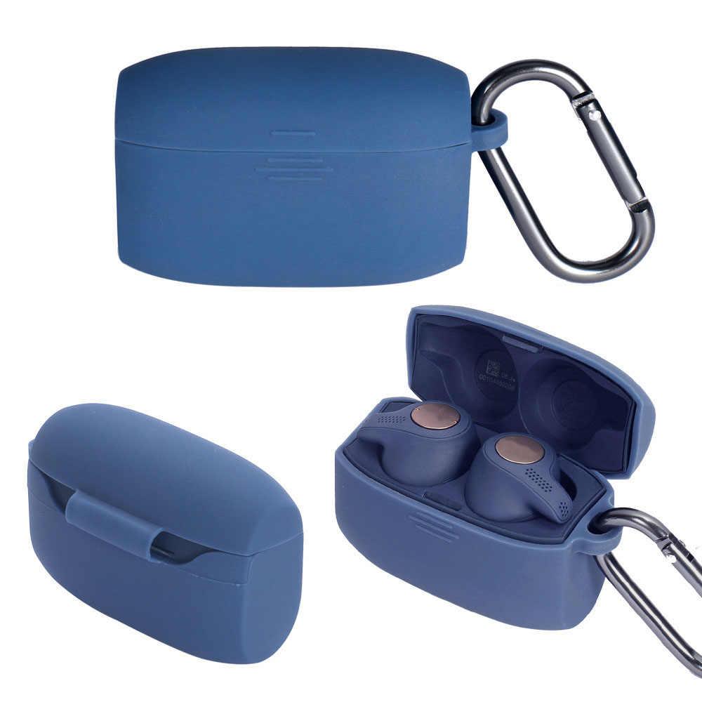 Futerał silikonowy słuchawki pełna ochronna pokrywa na słuchawki etui Bluetooth ucho kawałki pudełko na słuchawki hak do obsługi Jabra Elite aktywnych 65 t