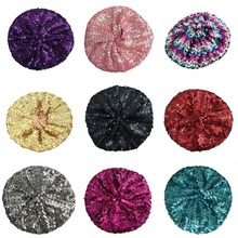 Women Stretch Metallic Shining Sequin Beret Hat Party Club Dance Beanie Cap for