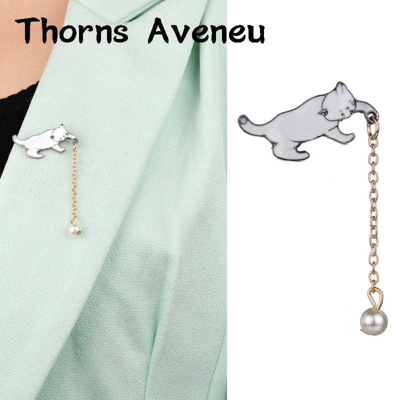 新ファッション猫の形の模擬真珠金属ピンブローチスーツピン絹のスカーフピンとブローチ男性の女性のためパーティージュエリー