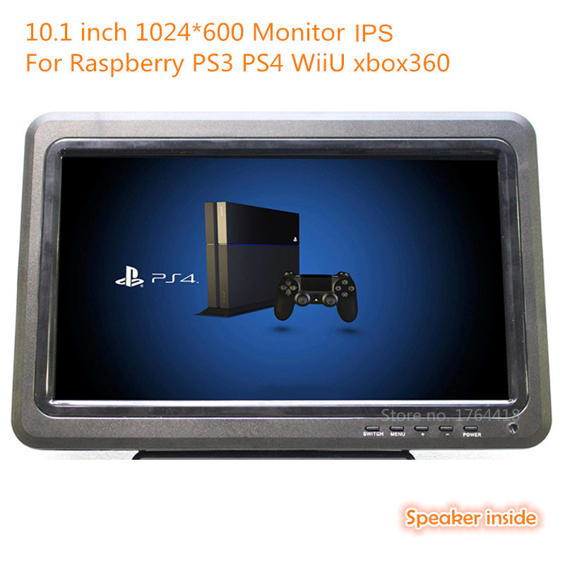 10.1 inch 1024*600 support 1080p portable IPS monitor HDMI+VGA+AV+USB+TV for Raspberry pi XBOX 360 PS game machine/monitor aputure digital 7inch lcd field video monitor v screen vs 1 finehd field monitor accepts hdmi av for dslr