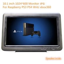 10.1 дюймов 1024*600 поддержка 1080 P портативный ips монитор с hdmi + vga + av + usb + tv для raspberry pi xbox 360 ps игровой автомат/монитор