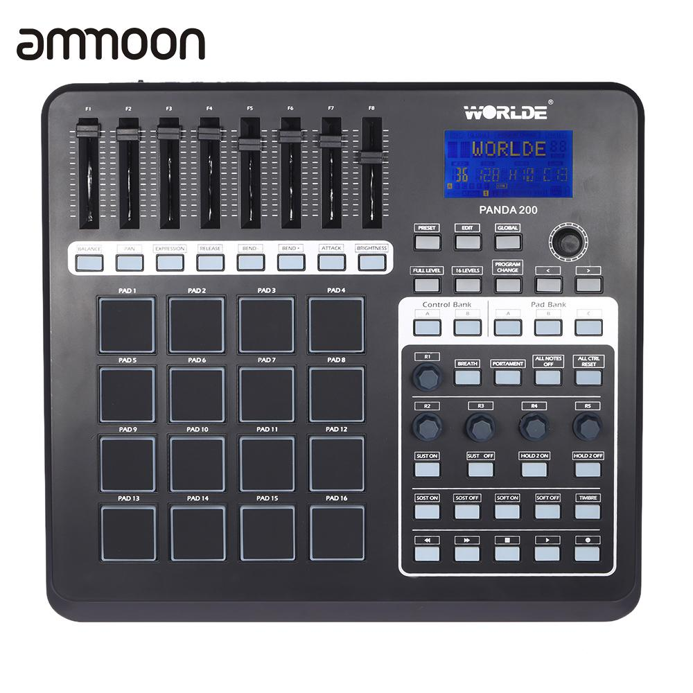 Portable USB MIDI Controller Keyboard mini MIDI Pad Controller 16 Drum Pads with USB Cable