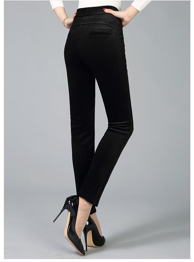 Women Elegant Striped Velvet Pants Slim Fit Corduroy Trousers Woman Red Green Black Blue Pant Bottoming Trouser Lady (1)