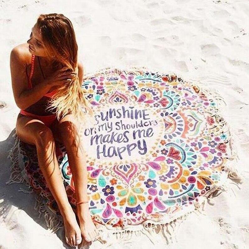 Summer party 155 cm adulto ronda círculo de impresión 3d grande beach towel + bo