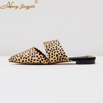 Leopard Flat Mule Slippers Slides Holidays Sandles Pointed Toe Summer Ladies Shoes For Womens 2019 Large Size 12 13 Slingbacks