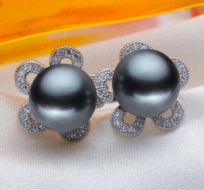 ASHIQI 100% Natural Tahiti Black Pearl Stud Earrings, Real 925 Sterling Silver Earring, 9-10mm perfectly round Pearl Jewelry ainuoshi 925 sterling silver leaves shaped pearl earrings 9 5 10mm natural tahitian black pearl round pearl lover stud earrings