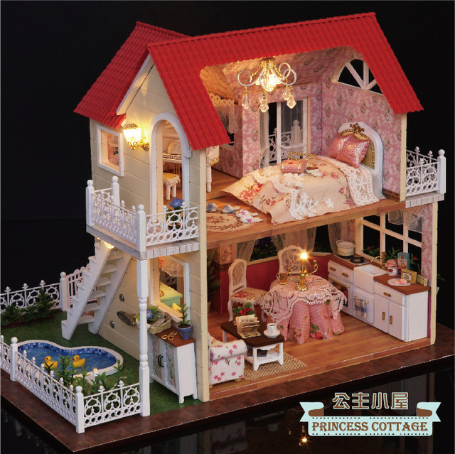 A033 DIY Big Dollhouse Miniature Villa Doll House Miniature Wooden Building  Model Furniture Model For Child